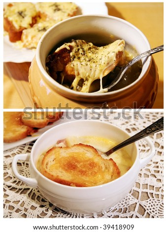 Two traditional French soups - Paris onion soup in an earthenware pot with golden-brown cheese crouton and a vegetable-milk soup with golden roasted crouton on top on a white lace table-cloth - stock photo