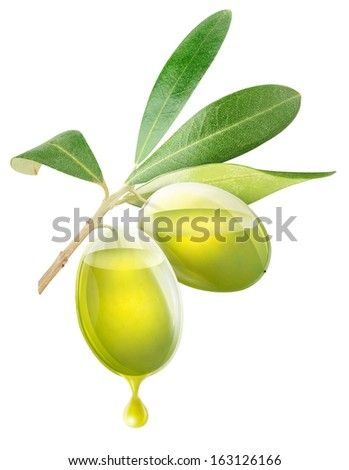 Two transparent olives with oil inside, isolated on white - stock photo