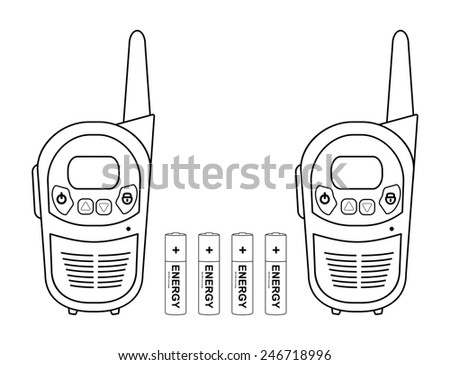 Two travel black portable mobile raster radio set devices wit 4 accumulator batteries. Contour lines illustration isolated on white - stock photo