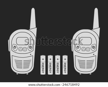 Two travel portable mobile raster radio set devices wit 4 accumulator batteries. Chalkboard illustration isolated on black - stock photo