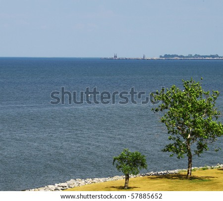 two trees along the yorktown virginia waterfront looking out over the chesapeake bay with room for your text - stock photo