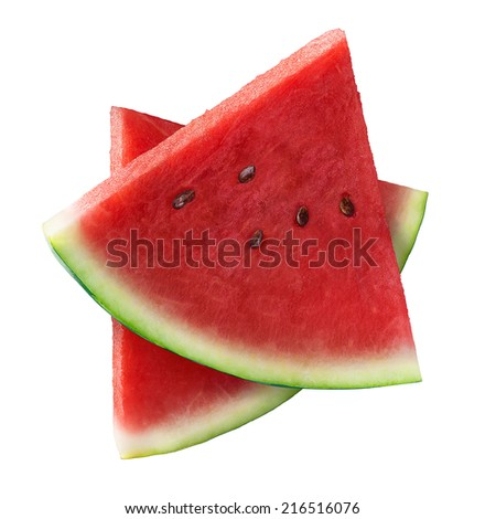 Two triangle pieces of watermelon isolated on white background as package design element - stock photo