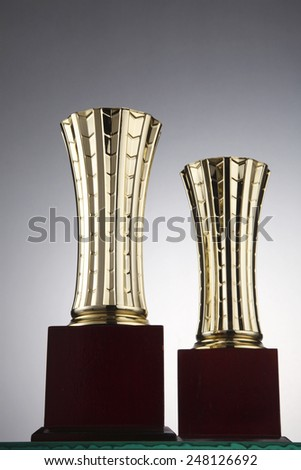 two trophies front and back - stock photo