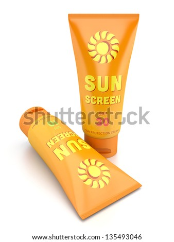 Two tube containers of sun cream isolated on white glossy background. Summer, sun tanning and sunscreen concept. - stock photo