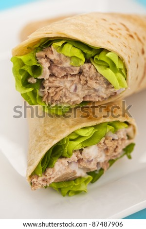 Two tuna melt wrap on a white plate on a blue background - stock photo