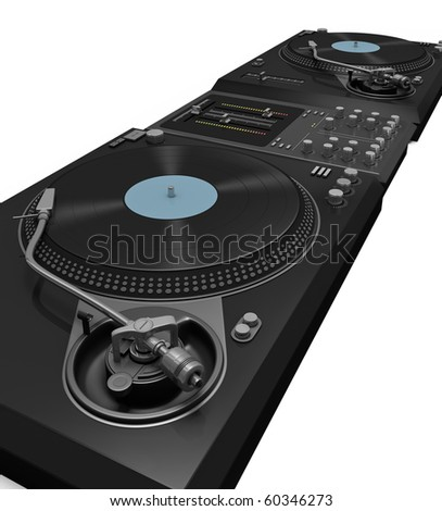 Two turntables and a mixer against a white background. Essential element for every DJ concert poster. - stock photo