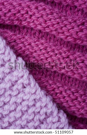 Two types of knitting in pink - stock photo