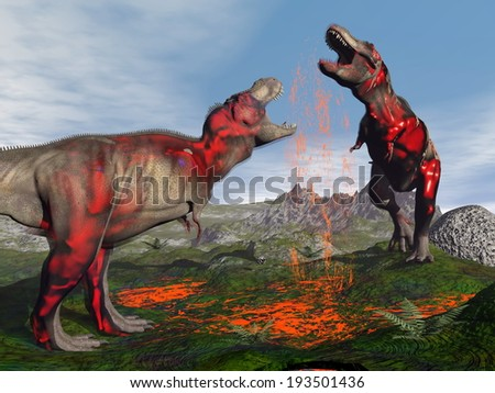 Two tyrannosaurus rex dinosaurs fighting to blood in nature - stock photo