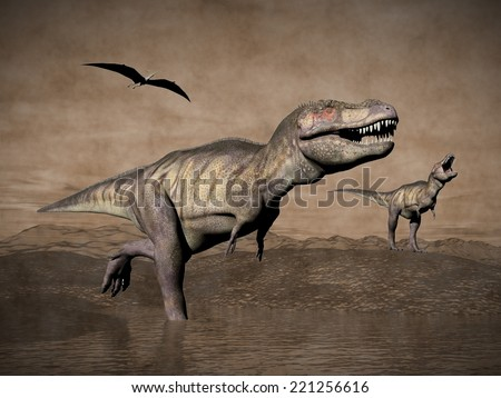 Two tyrannosaurus rex dinosaurs walking with pteranodon birds flying upon in desertic landscape, vintage style - 3D render
