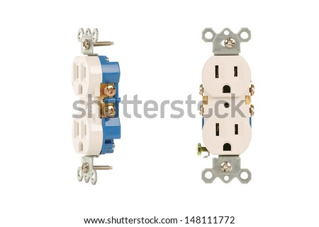 Two uninstalled white electrical outlets  - stock photo