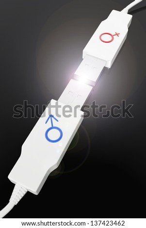 Two usb devices with male and female symbols - stock photo