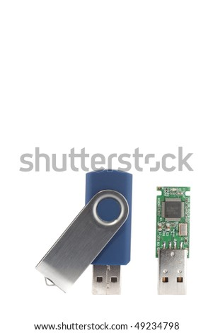 two usb sticks, pendrives, one disassembled