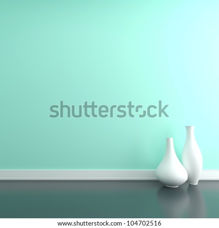Two vases on the floor near a wall. Empty room