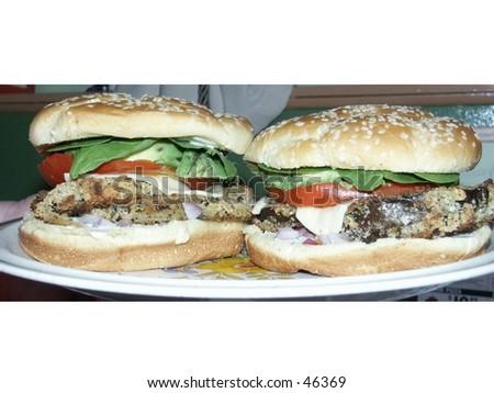 Two Vegitarian Eggplant Burgers - stock photo