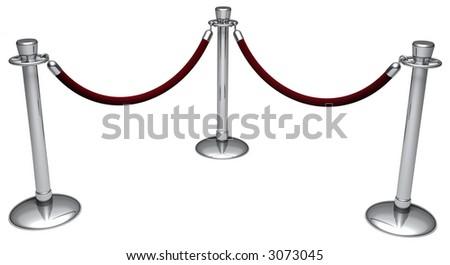 Two velvet rope barriers - stock photo