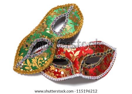 Two Venetian masks for a party on a white background - stock photo