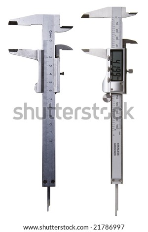 Two Vernier Calipers - Digital and Analog - New and Old - Concept of DIY - Includes Clipping Path - stock photo