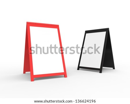 Two very modern looking street advertising signs. You can easily paste your custom text onto the board. - stock photo
