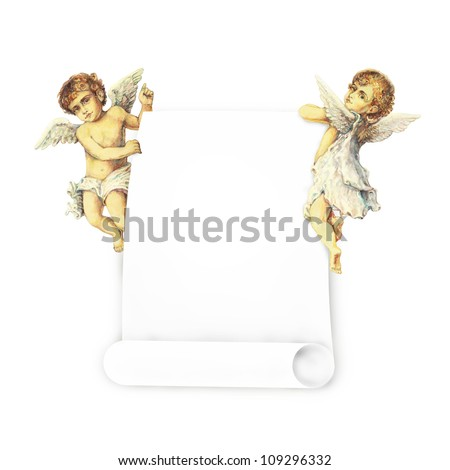 Two Victorian angels carrying a banner