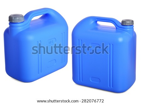 two views of blue plastic  gallon on a white background