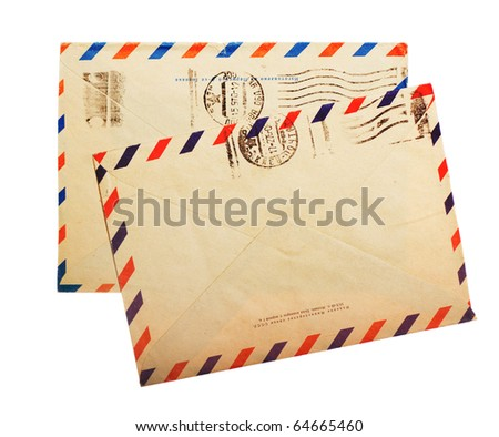 two vintage envelope back sides with russian meter stamps isolated on white - stock photo
