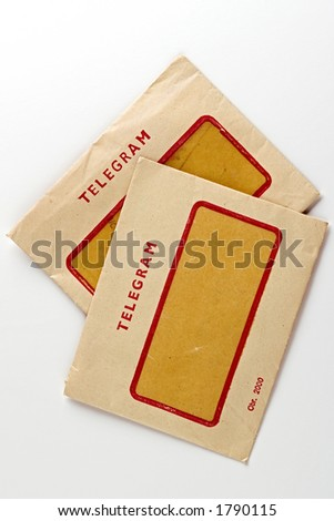 two vintage telegram envelops - stock photo