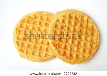 Two waffles isolated on white. - stock photo