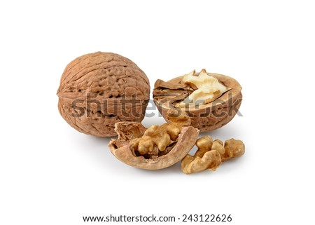 Two  walnuts on a white background - stock photo