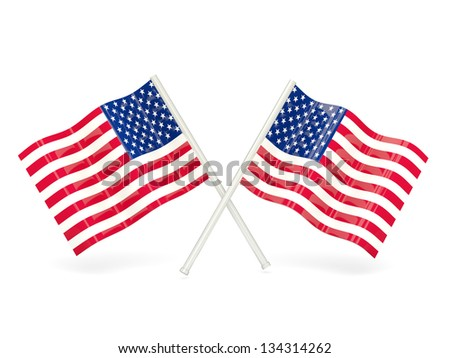 Two wavy flags of united states of america isolated on white