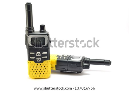 Two way radios on a white background in different positions - stock photo