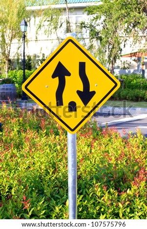 Two way traffic sign - stock photo