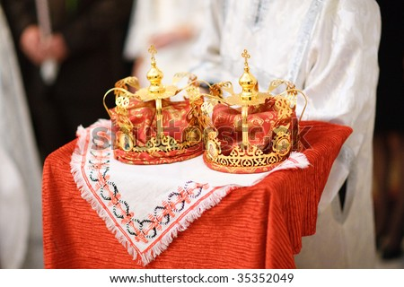 two wedding crowns in the church - stock photo