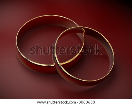 Two wedding ring on a red background 3D