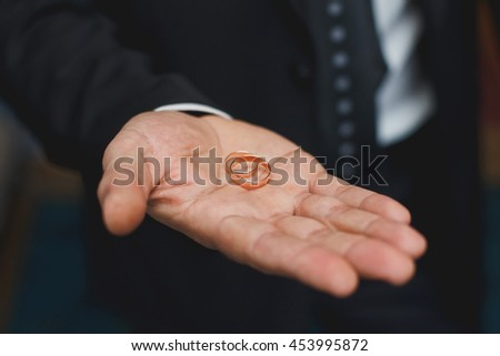 Two wedding rings in a hand of the groom