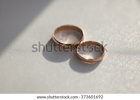 Two wedding rings in the white background - stock photo