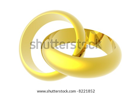 Two wedding rings isolated over a white background. This is a 3D rendered picture.