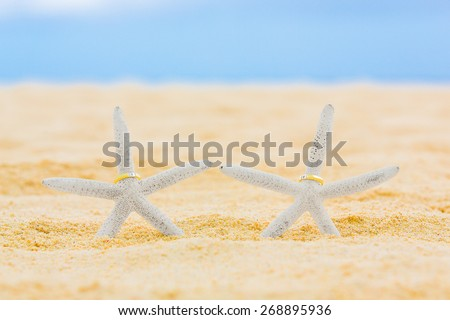 Two wedding rings with two starfish on a sandy tropical beach. Wedding and honeymoon in the tropics. - stock photo