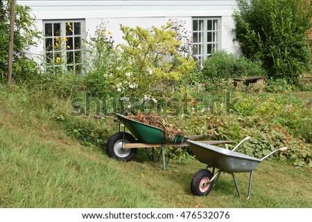 Two wheelbarrows in a classic garden