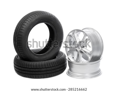 Two wheels and tires for the car. Isolate on white. - stock photo
