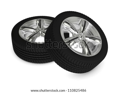 two wheels isolated on white background - stock photo