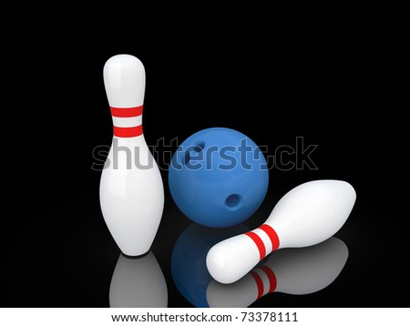 Two white bowling pins and bowling ball. Isolated on black.