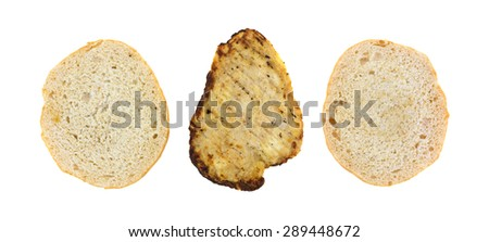Two white buns with a heated grilled chicken breast in the middle for a sandwich isolated on a white background. - stock photo