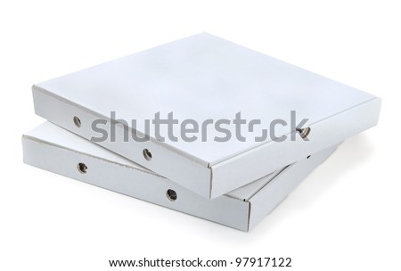 Two white cardboard pizza boxes isolated on white - stock photo