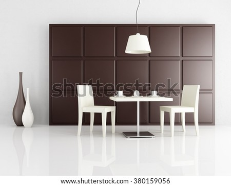 two white chair  with coffee table against brown panel - 3d rendering - stock photo