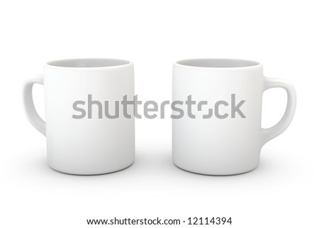 Two white coffee mugs isolated over a white background. - stock photo