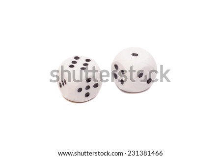 Two white dice isolated on white  - stock photo