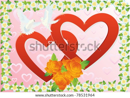 Two white doves flying in the background of two hearts and a bouquet of red roses in a box of wild flowers .. - stock photo