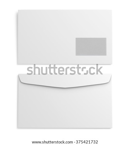 Two white paper envelope on white background. 3d rendering. - stock photo