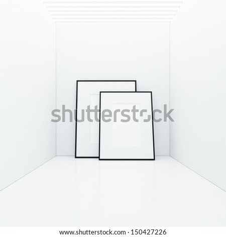 two white posters - stock photo