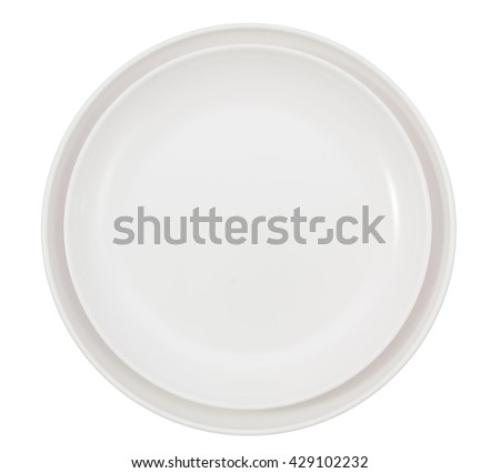 Two white round plates isolated on white